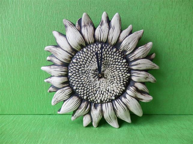 Keramiké hodiny Slunečnice natural