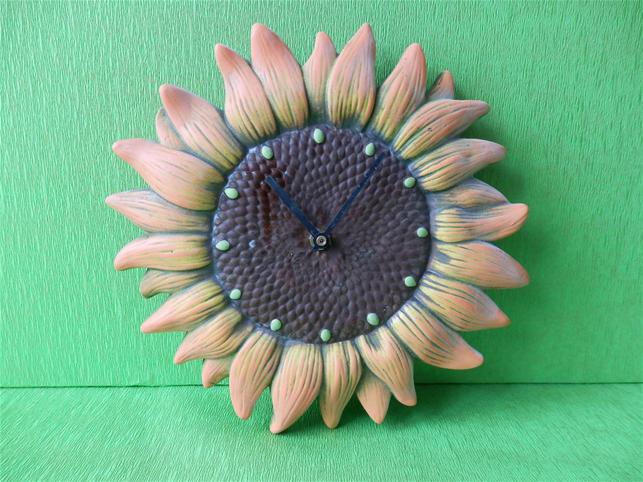 Keramiké hodiny Slunečnice color