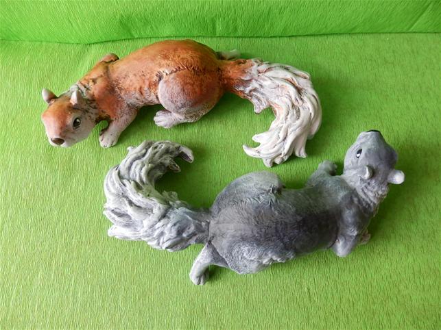 Keramická zvířátka - Veverka šedá a rezavá sada AKCE!