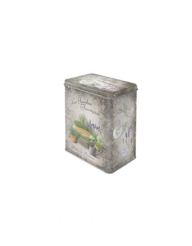 Plechová retro dóza - plechovka Le jardin - Herbes de Provence