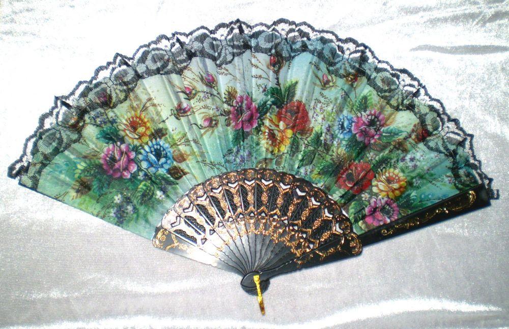 Vějíř látkový - Baroko Růže 1