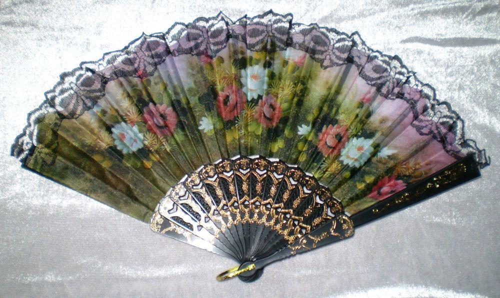 Vějíř látkový - Baroko Jiřiny