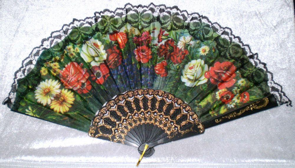 Vějíř látkový - Baroko Směs květin