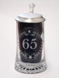 Skleněný korbel s poklopem výročí 65 let W