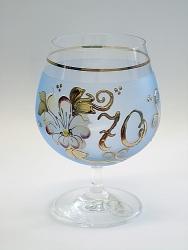 Sklenice k výročí - 70 modrá