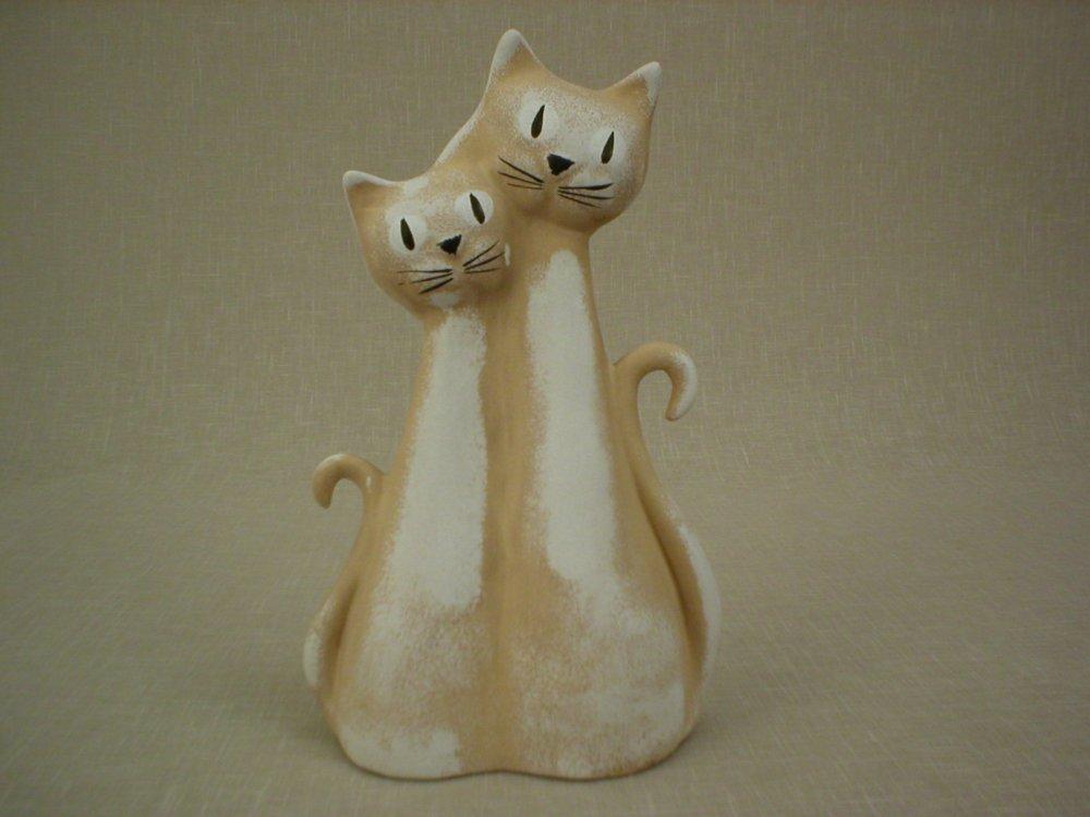 Keramická soška - Kočky béžová