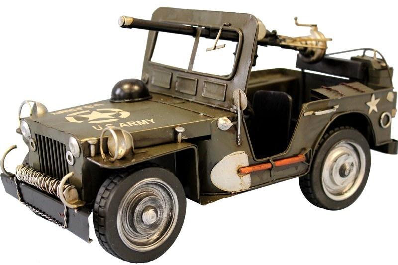 Plechový retro model Auto Jepp džíp