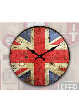 Skleněné hodiny na zeď Britská vlajka - Heritage