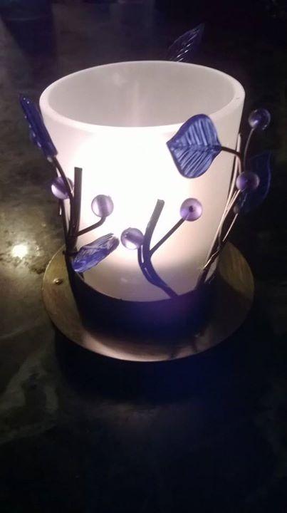 Skleněný svícen na svíčku Listy Blue
