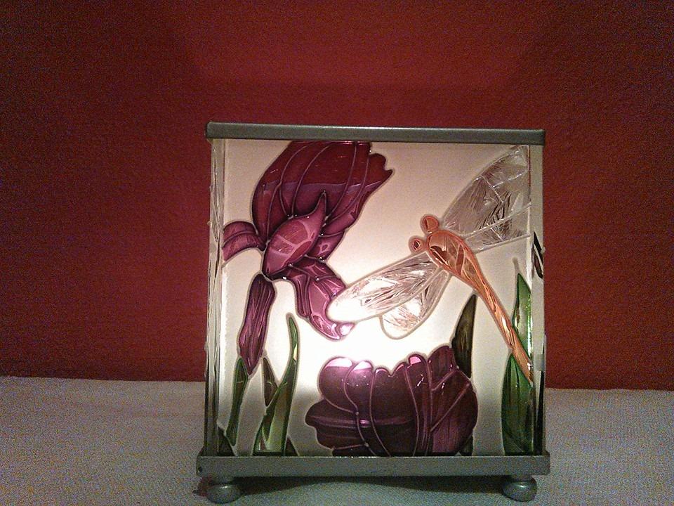 Lampička - skleněný svícen Kosatce