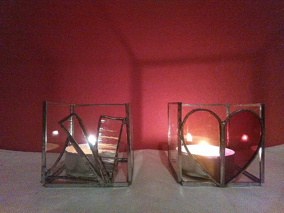 Skleněný svícen vitrážový Srdíčko