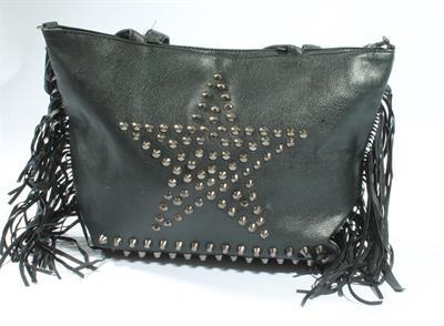 Retro taška přes rameno s třásněmi a cvoky - Star