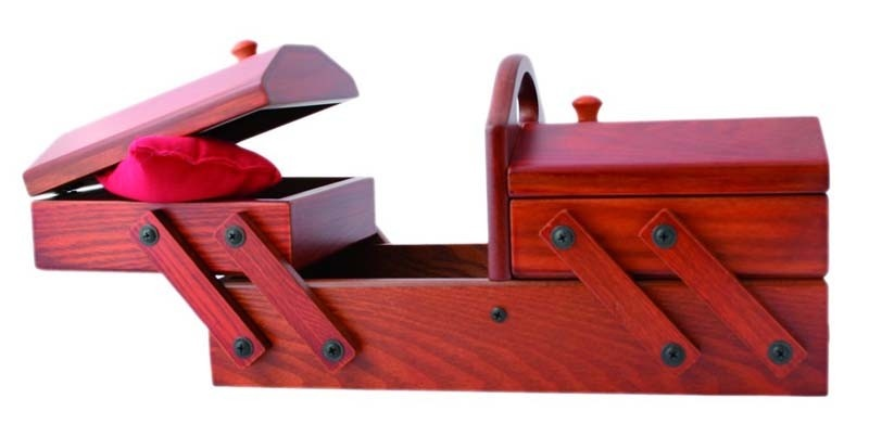 Dřevěná skříňka na šití Redwood