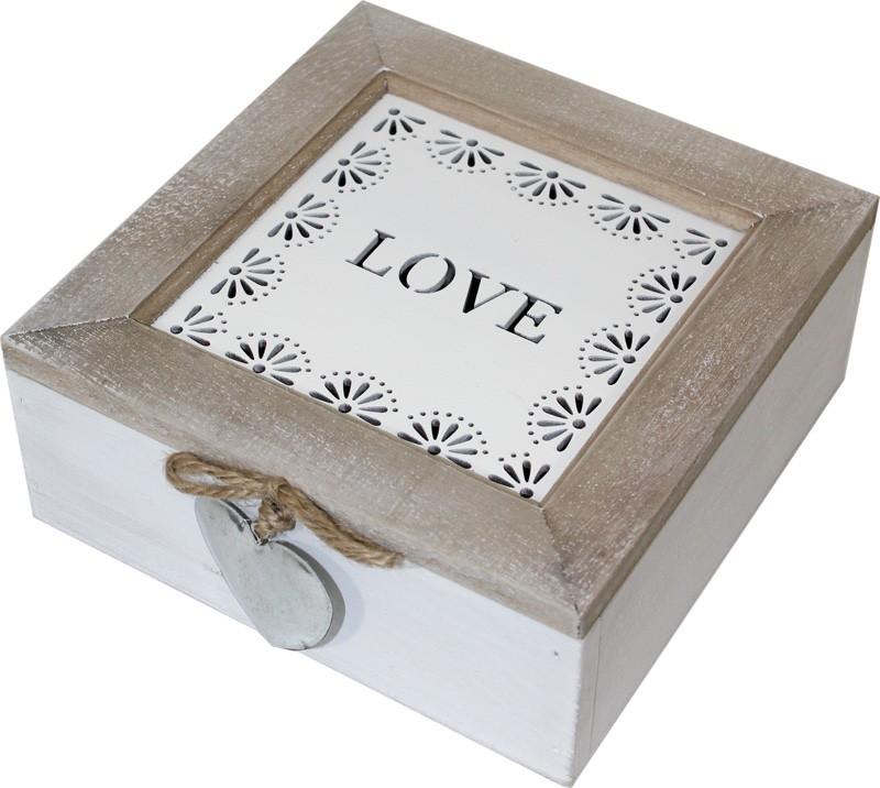 Dřevěná šperkovnice Love