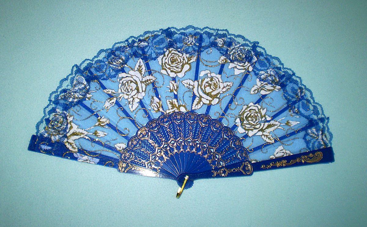 Vějíř krajkový Růže - modrý