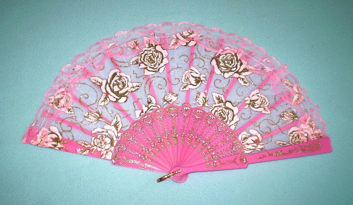 Vějíř krajkový Růže - tm.růžový
