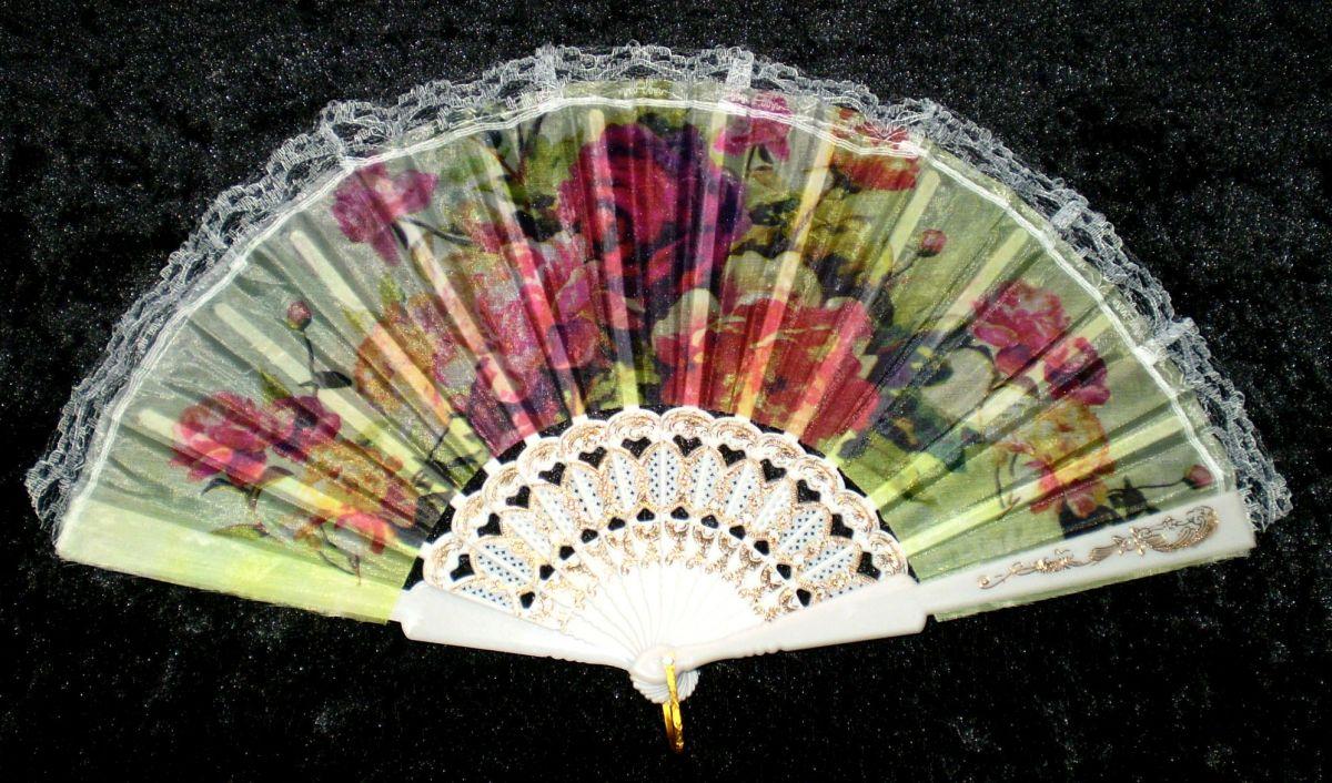 Vějíř látkový - Baroko Růže a kopretiny bílý