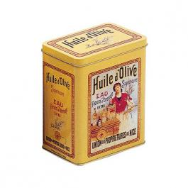 Plechová retro dóza - plechovka Huile de Olive