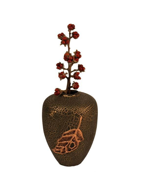 Keramická váza List - Brown s krakenováním AKCE