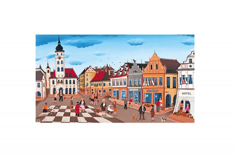 Porcelánový hrnek Šachovnice - český porcelán DUBÍ