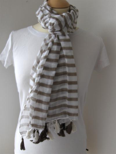 Bavlněný šátek Pruhy s třapci a korálkami - béžové