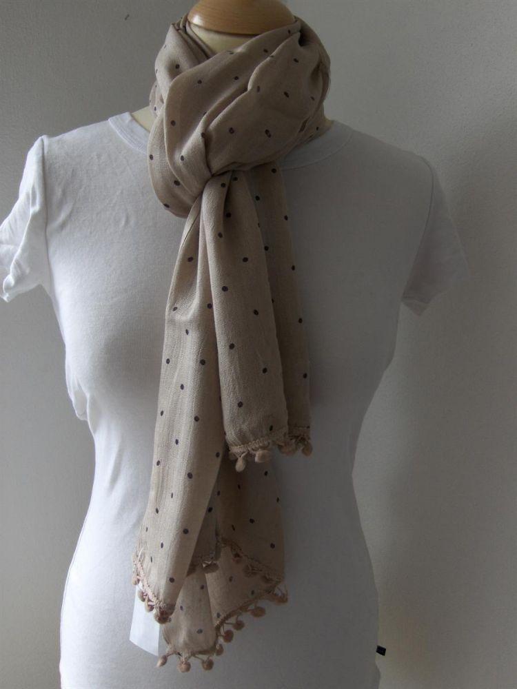 Bavlněný šátek Puntíky - lososovohnědý