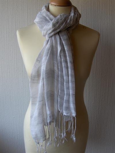 Bavlněný šátek Pruhy - bílo-šedý