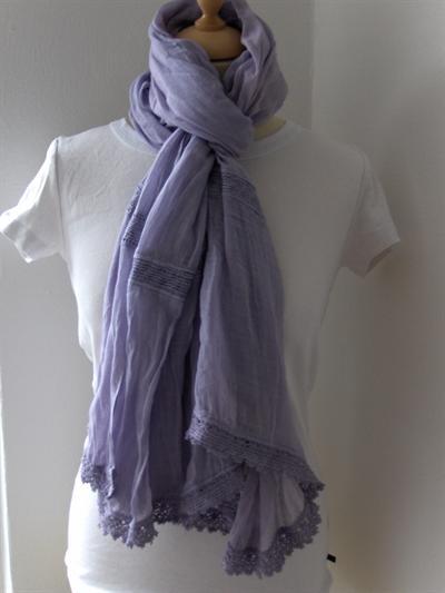 Bavlněný teplý šátek S krajkou fialový