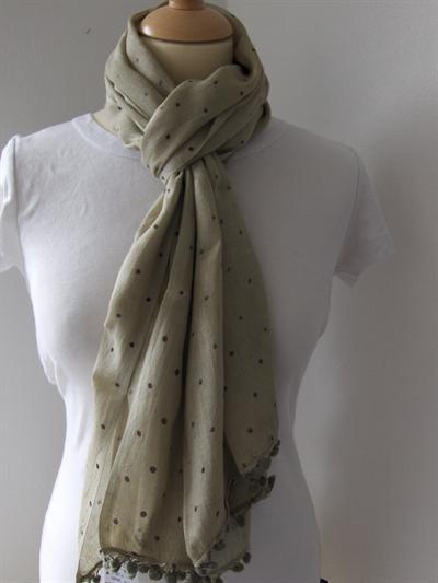 Bavlněný šátek Puntíky - zelenohnědý