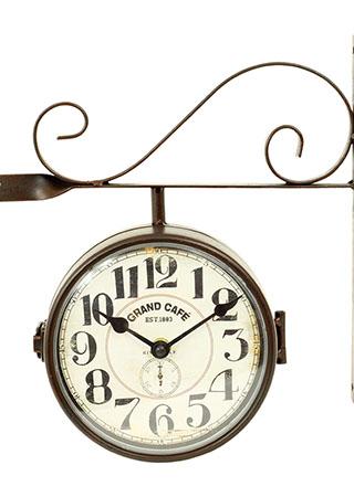Kovové oboustranné hodiny Grand Cafe