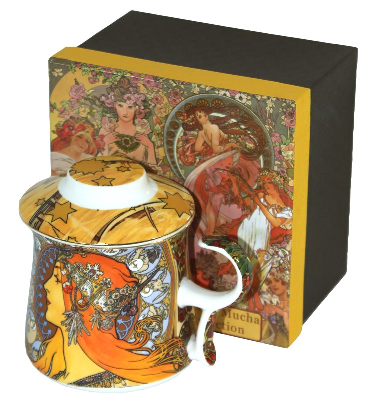 Porcelánový hrnek A. Mucha s pokličkou Zodiak