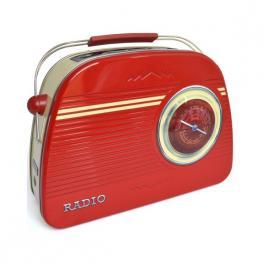 Plechová maxi dóza Retro - Rádio červené