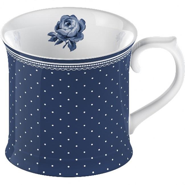 Porcelánový luxusní hrnek Modrý s růží a puntíky