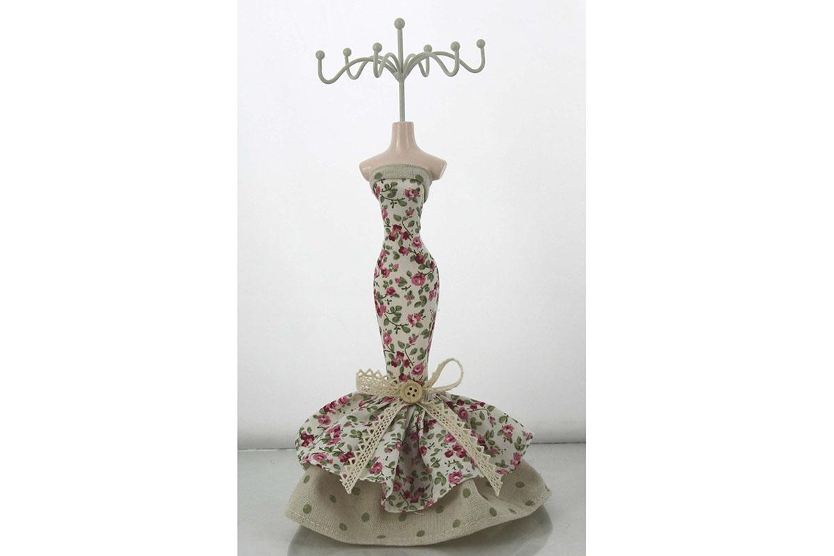 Stojan na prstýnky - Květované šaty růžové