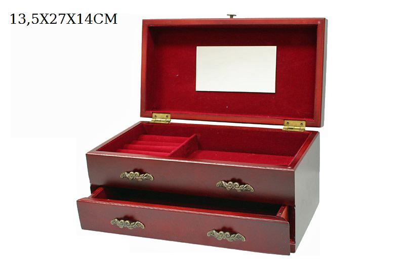 Dřevěná luxusní šperkovnice Red se zrcátkem dvě přihrádky