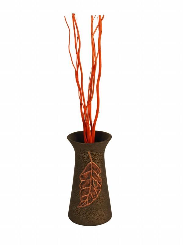 Keramická váza List - Brown s krakenováním poškozené zboží SUPER CENA!