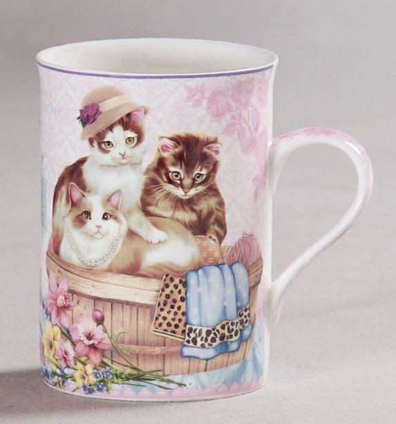 Porcelánový hrnek Kočičky s kloboučkem