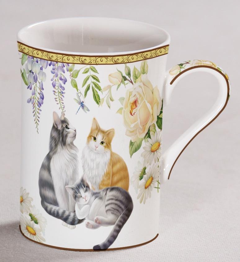 Porcelánový hrnek Kočičky s růží