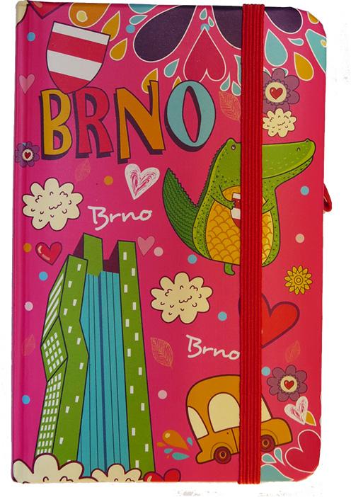 Krásný deníček - zápisník Brno růžový