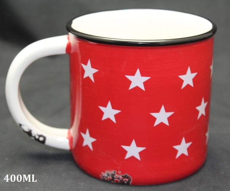 Keramický hrnek červený Hvězdy 400ml