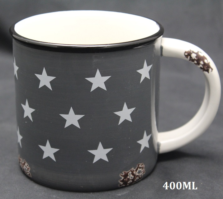 Keramický hrnek šedý Hvězdy 400ml