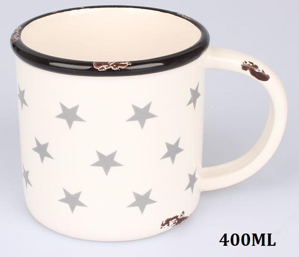 Keramický hrnek béžový Hvězdy 400ml