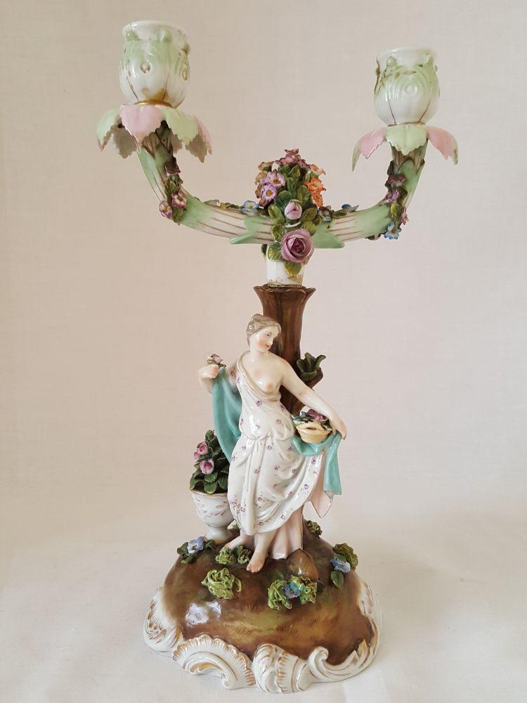 Porcelánový dvouramenný svícen Schierholz