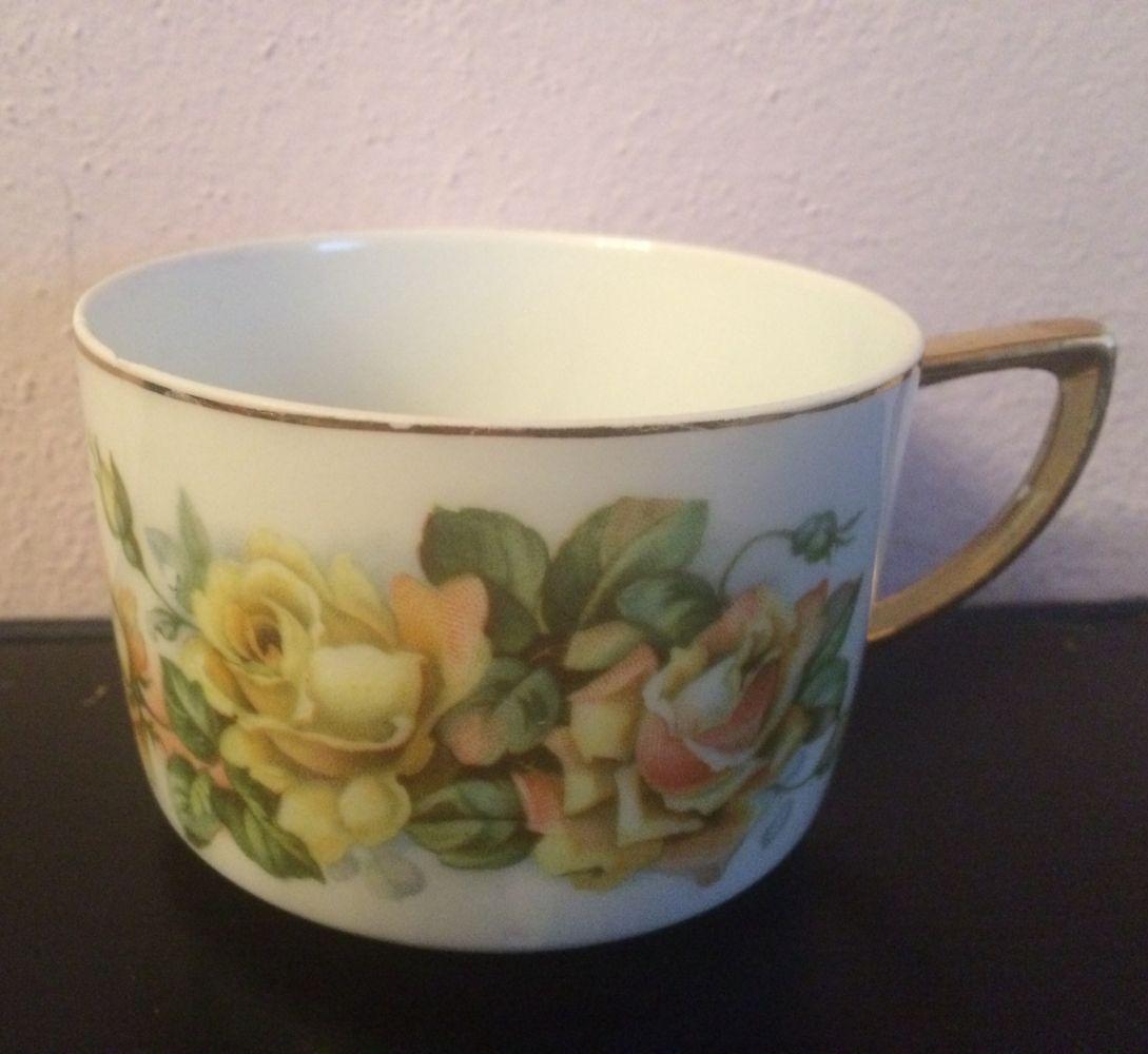 Starožitný porcelánový hrnek Žluté růže