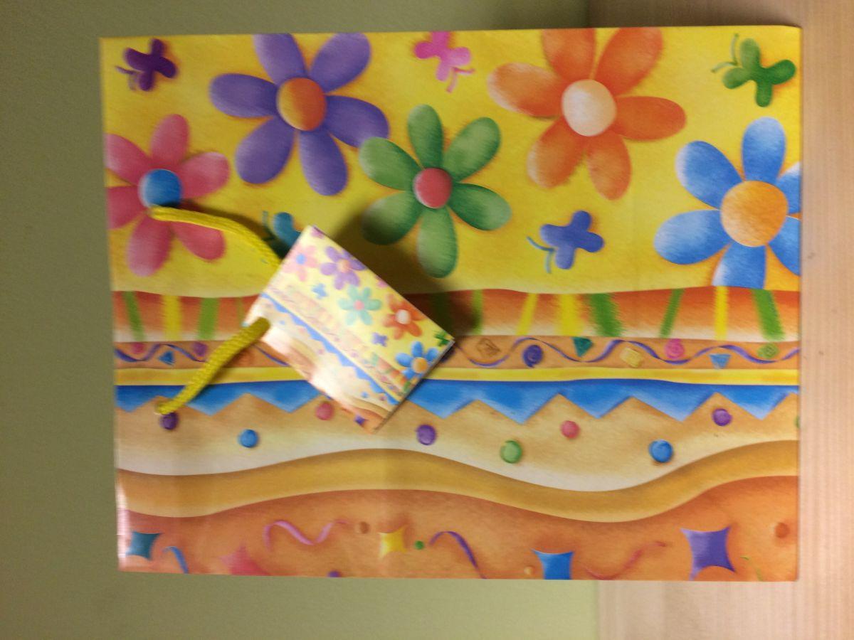 Dárková taška Květiny modrá kostka S
