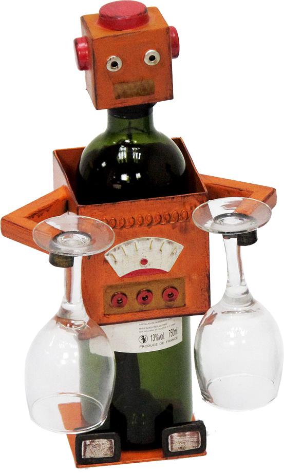 Stojan na víno a dvě skleničky Robot