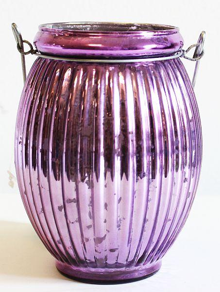 Skleněný zrcadlový svícen na svíčku fialový