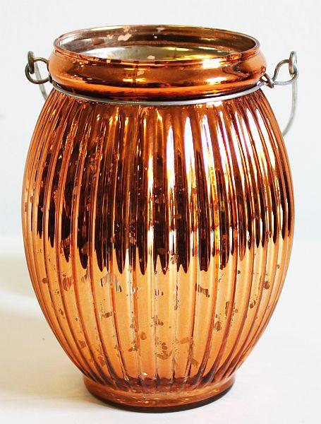 Skleněný zrcadlový svícen na svíčku oranžový