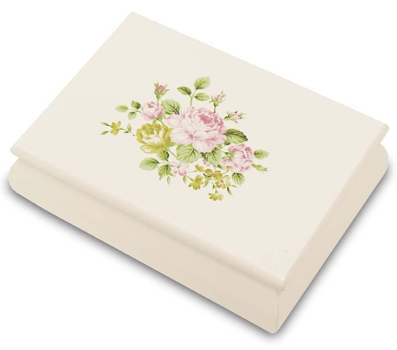 Dřevěná šperkovnice bílá s růžemi Martina