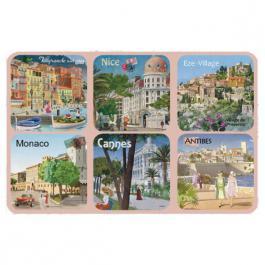 Korkové podtácky - podložky Riviéra Nice, Monako 6 kusů